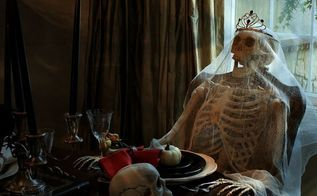 haunted halloween dining room, halloween decorations, seasonal holiday d cor, Skeletons draped in cheesecloth