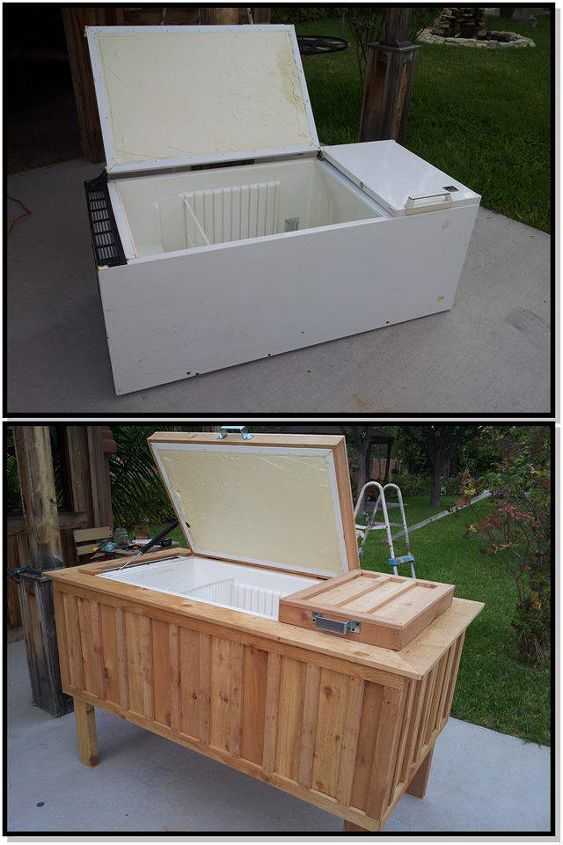 Old refrigerator to patio ice chest.