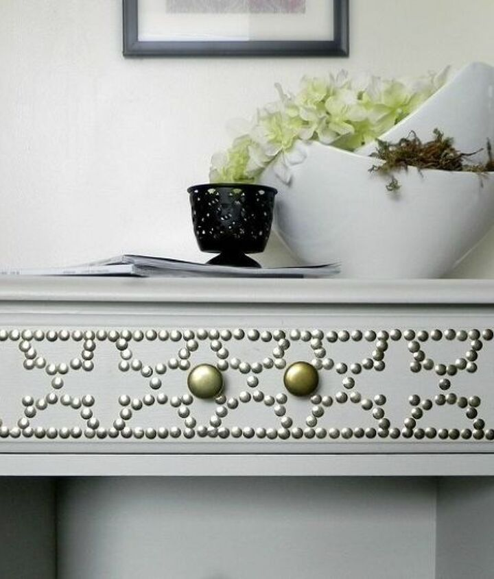 Faux nailhead trim  http://www.madincrafts.com/2013/02/designer-inspired-nailhead-table-for-6.html