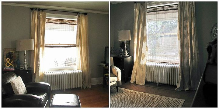 easy stamped curtains, home decor, painting, before and after