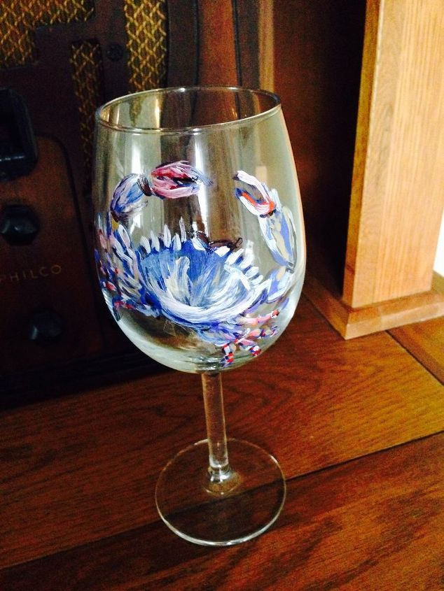 hand painted crab on thrift store wine glass, crafts, painting