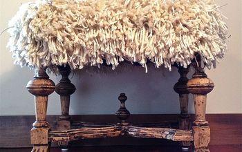 a groovy shaggy ottoman to rest my feet, flooring, painted furniture, My shaggy ottoman