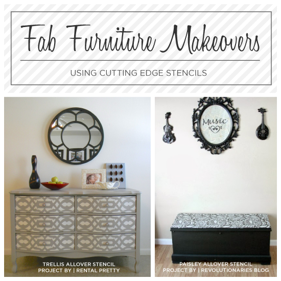 fab furniture makeovers using stencils, painted furniture
