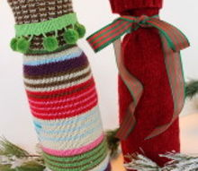 recycled sweater wine bottle gift bags, repurposing upcycling, Sweater Wine Bottle Gift Bags