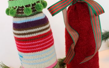 Recycled Sweater Wine Bottle Gift Bags