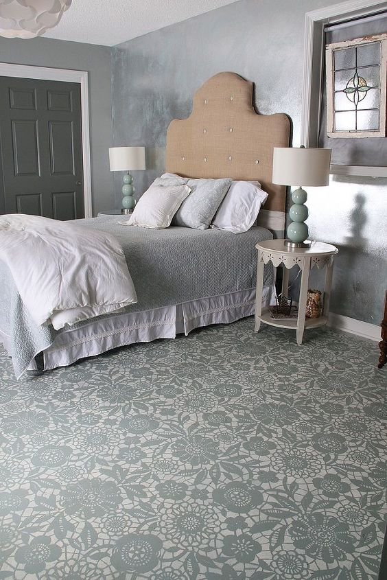 goodbye carpet hello stenciled floor with annie sloan chalk paint, bedroom ideas, chalk paint, flooring, painting, completed stenciled floor
