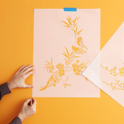 Put down the base coat and let it dry. Measure the wall, and use a pencil to mark out the area to be stenciled and the position of each motif. RELATED: Patterns & Ideas http://ow.ly/uRH0w
