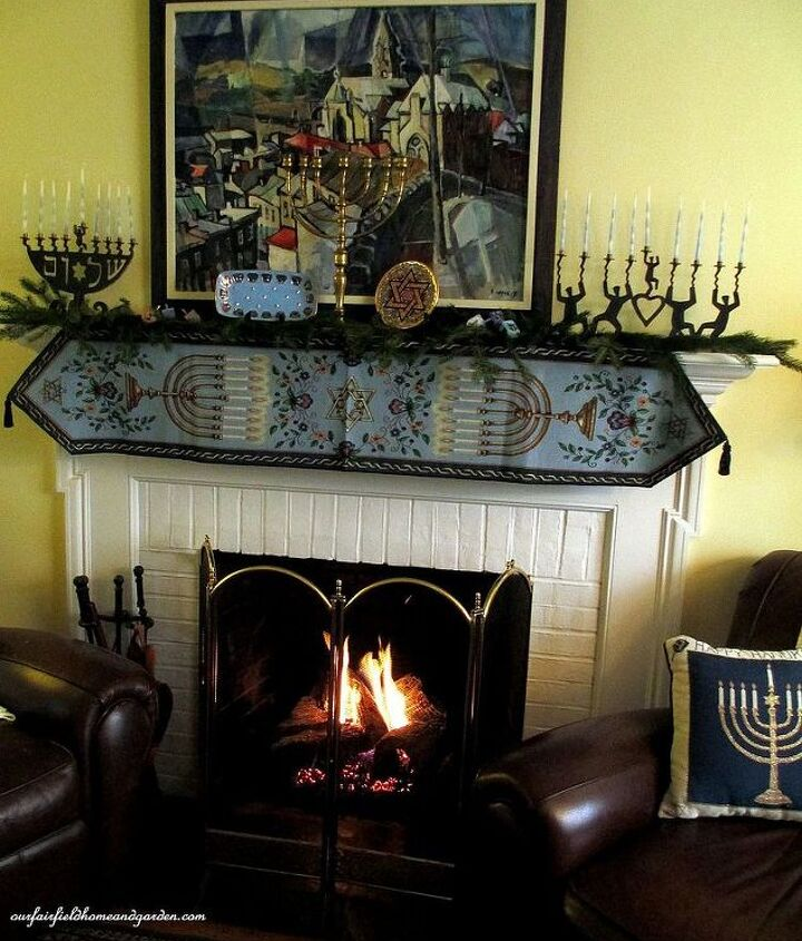 our Chanukah fireplace mantel