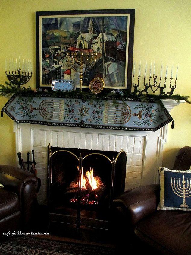 our Chanukah fireplace mantel
