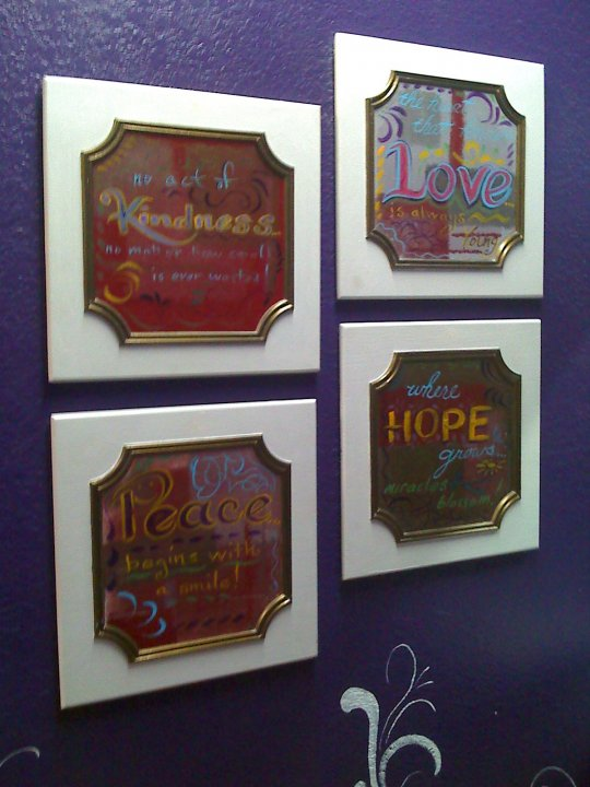 I found kitchen cabinet doors and painted them with positive affirmations for reminders to always handle with care while working.