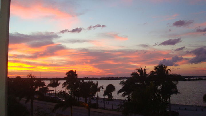 my new backyard view last night s sunset from the condo, outdoor living