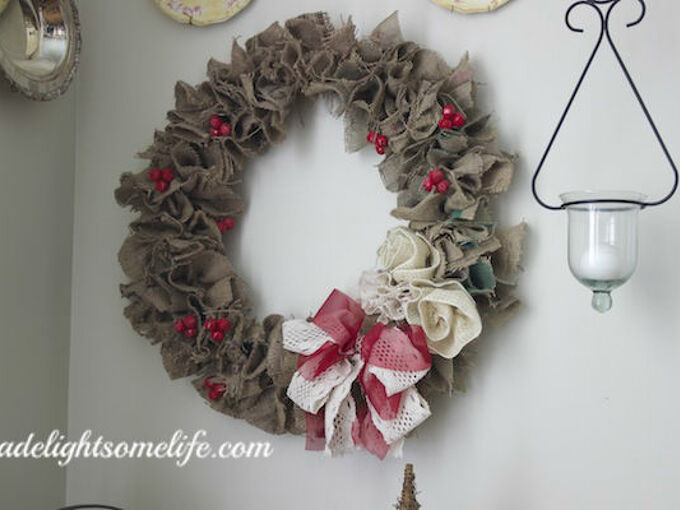 how to make a burlap christmas wreath from coffee sacks, christmas decorations, crafts, seasonal holiday decor, wreaths, ribbon and ribbon rosettes add charm to the wreath