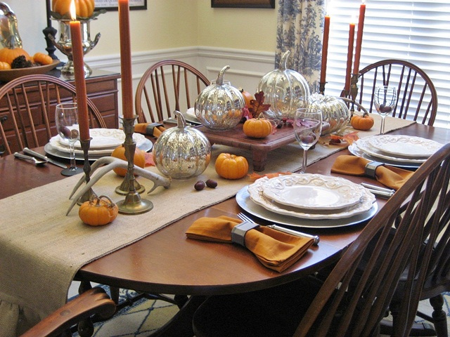 Thanksgiving Tablescape Mercury Glass Pumpkins And