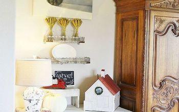 rustic white farmhouse autumn living room, living room ideas, repurposing upcycling, seasonal holiday decor