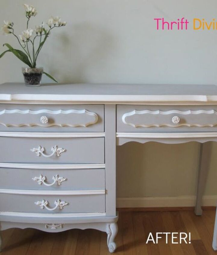 My thrift store French Provincial desk, perfoect for a little girl! Painted with Annie Sloan Paris Grey and Pure White! This desk was only $12!!