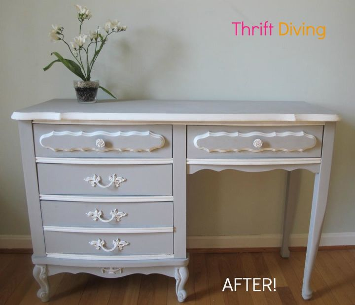 The Makeover Of A French Provincial Desk Chalk Paint Painted Furniture My Thrift