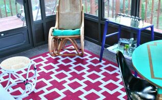 how to paint an indoor outdoor rug, flooring, painting, Learn how to paint a rug