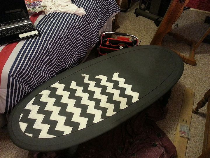 chevron coffee table, chalk paint, painted furniture