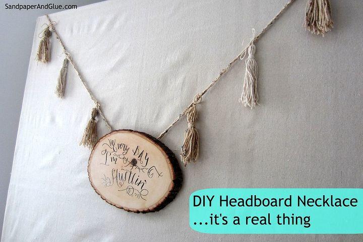 diy headboard necklace homehack, bedroom ideas, home decor, painted furniture