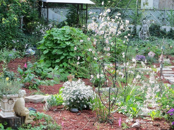 monster vines in my october garden, flowers, gardening, The monster vines have swallowed up my birdbath in the middle of my garden