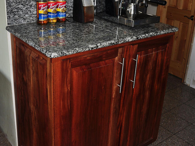 mahogany and granite kitchen, home decor, kitchen cabinets, kitchen design, Shop built Pantry cabinet with granite tile counter