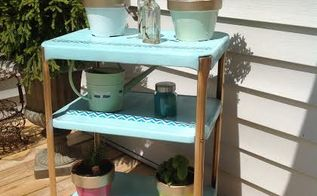 herbal cart, flowers, gardening, outdoor furniture, painted furniture, repurposing upcycling