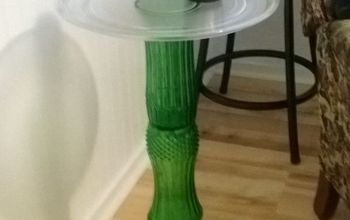 Don't Throw That Green Flower Vase Away, Make a Side Table From It
