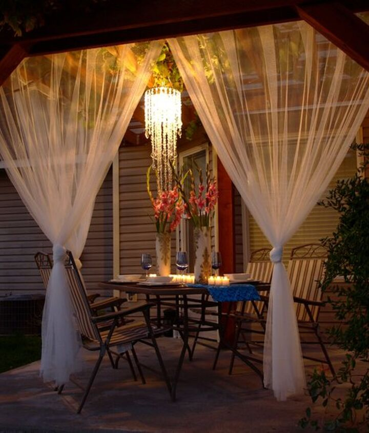 beautiful outdoor area on a 100 budget, lighting, patio