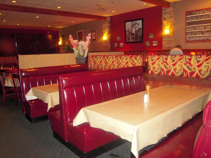 i had a consultation with the owners of whitlock s bar amp grill in marietta ga so, home decor, The dominance of the fabric on the booth dividers over powered the atmosphere of the restaurant