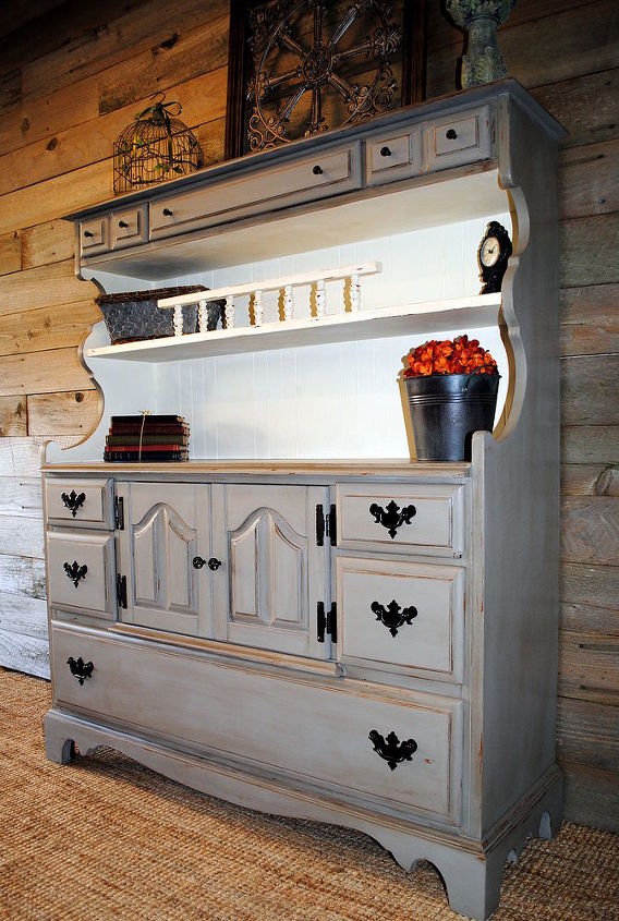 small hutch makeover, painted furniture, rustic furniture, All completed