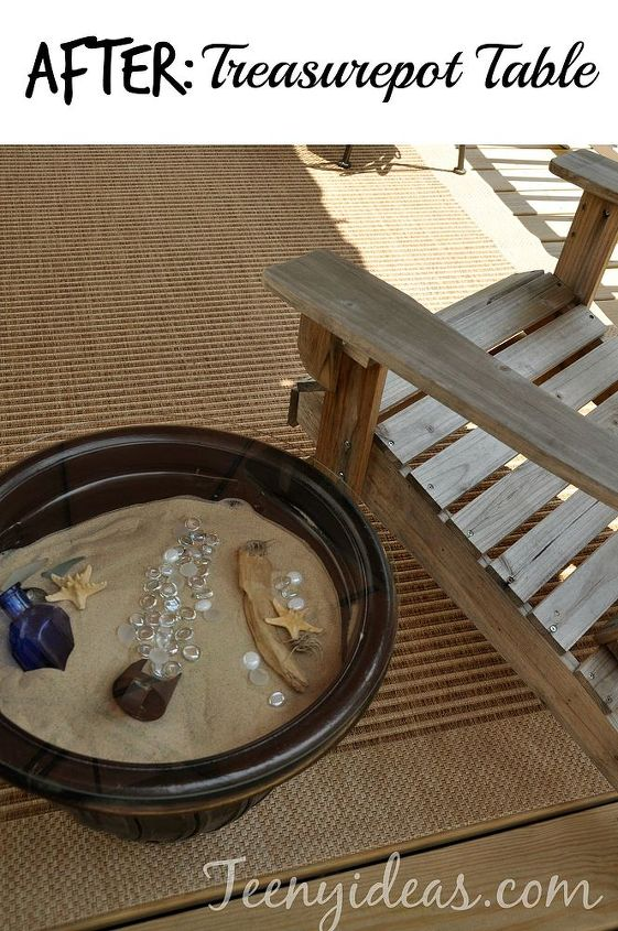 flowerpot repurposed as a side table, outdoor furniture, outdoor living, painted furniture, repurposing upcycling
