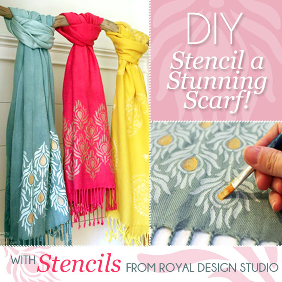 Create beautiful stenciled scarves for gifts (or for yourself) http://www.royaldesignstudio.com/blogs/stencil-ideas/10301865-a-pretty-handy-girl-stencils-stylish-scarves-for-holiday-gifts