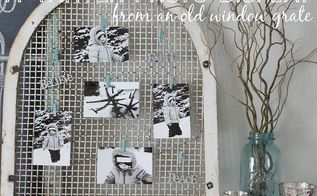 a wintery photo display from an old window grate, home decor, repurposing upcycling, A wintery photo display perfect for a January mantel