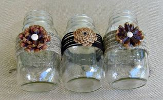 creating pine cone flowers for fall decorating, crafts, mason jars, seasonal holiday decor, thanksgiving decorations, We used jute twine and leather to wrap the mason jars before adhering the pine cone flowers