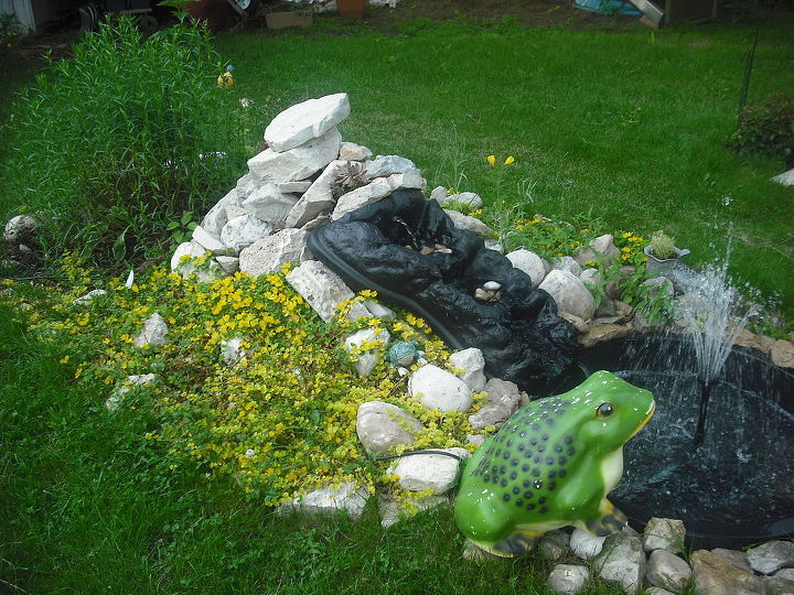Pond I made six weeks after my cancer operation and carried every single stone....haha