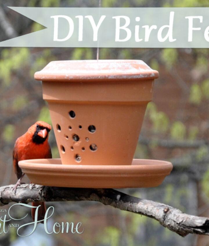 My Cardinals love this cute DIY Terra Cotta Bird Feeder!