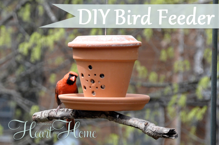 My Cardinals love this cute DIY Terra Cotta Bird Feeder!