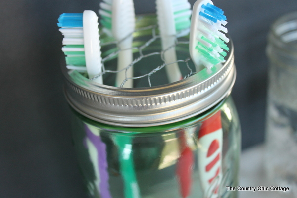 mason jar toothbrush holder, crafts, mason jars, repurposing upcycling