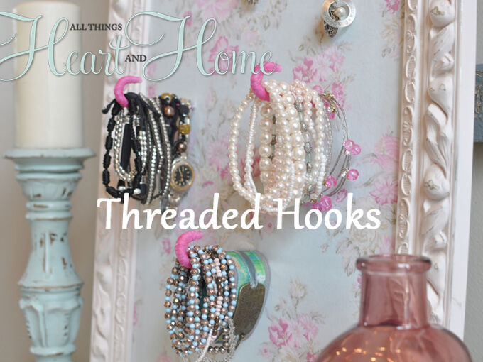 diy jewelry holder, crafts, The threaded hooks hold my bracelets and the cup hooks hold necklaces Complete tutorial on my blog
