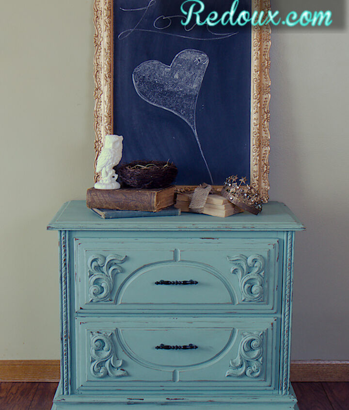 vintage aqua distressed chalkpainted nightstand, chalk paint, painted furniture