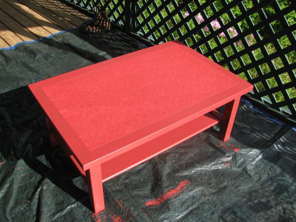 faux leather coffee table, painted furniture