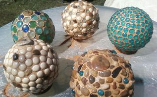garden globes, crafts, mason jars, Don t worry about the cloudy way the marbles look Let them dry for a couple hours and wipe off the stones and marbles with an old cloth