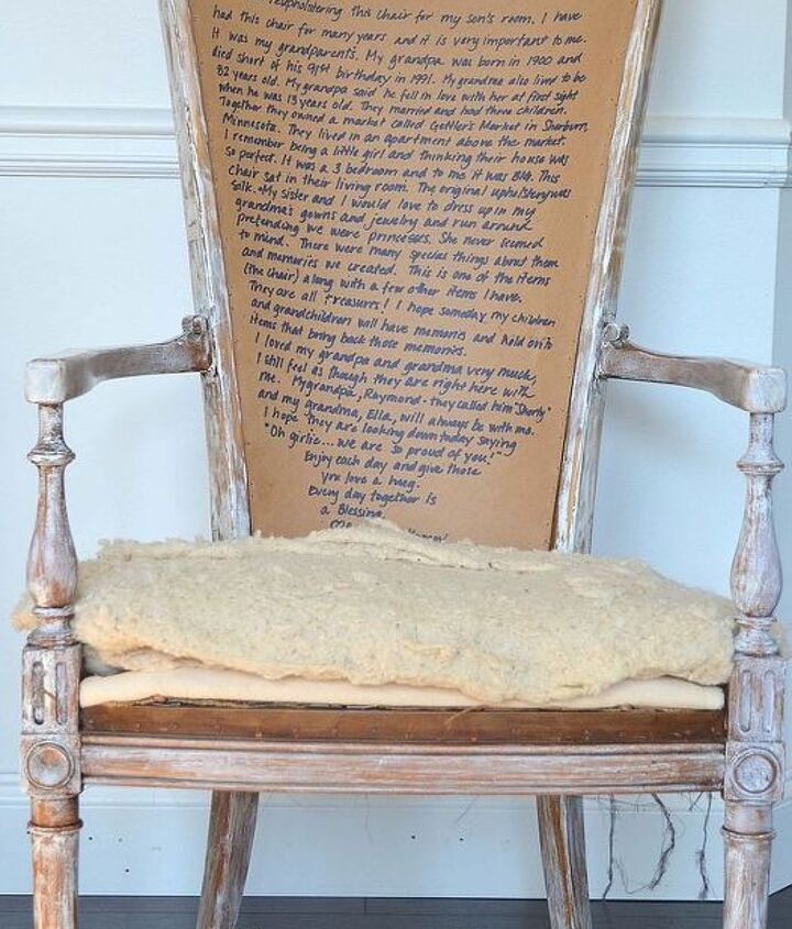Sharing history underneath the upholstery is exciting and hopefully someone will see it in the future and treasure it.