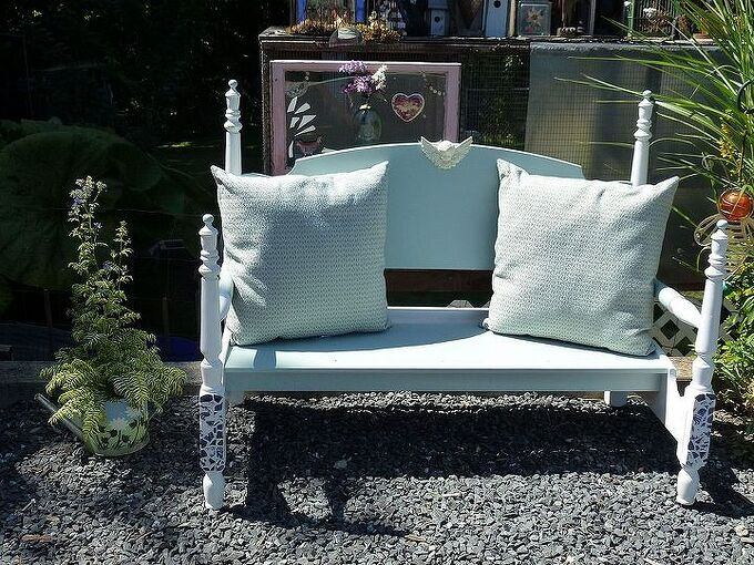 my head and foot board bench, diy, painted furniture, repurposing upcycling