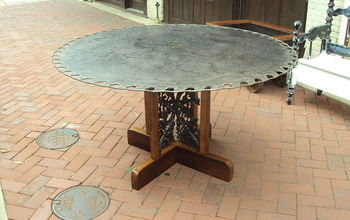 SAW BLADE TABLE WITH ARCHITECTURAL SALVAGE BASE