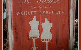 french invoice mme boileve sign made from free cupboard door diy, crafts, repurposing upcycling, The finished French Invoice Sign