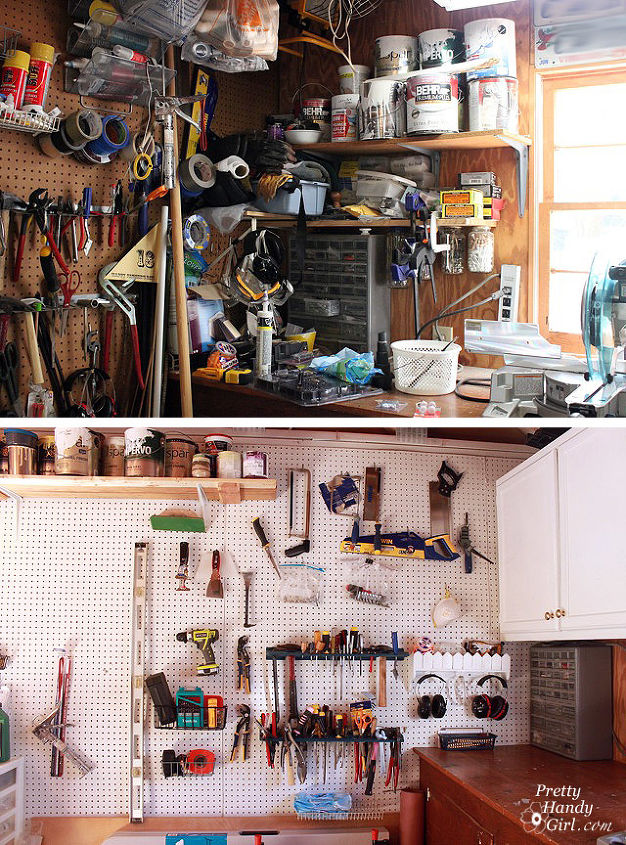 Before and after of painted and organized pegboard