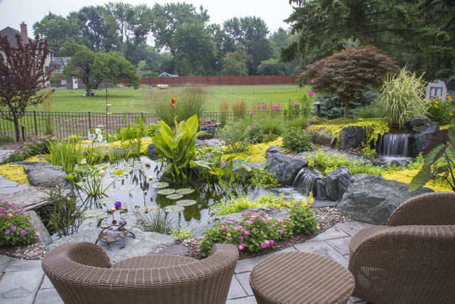 Comfy patio seating provides an up-close view of the pond.