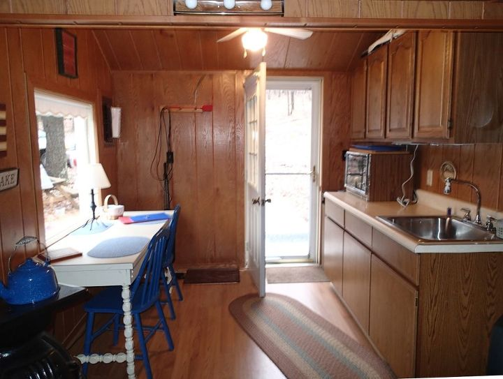 Little cabin kitchen and eating area.