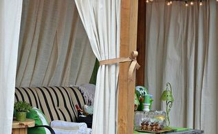 drop cloth curtains patio makeover, home decor, outdoor living, patio, reupholster, window treatments